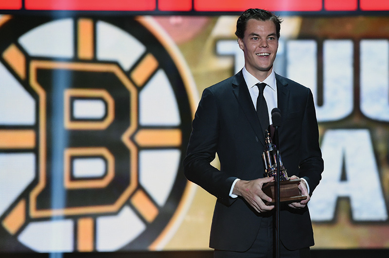 LAS VEGAS, NV - JUNE 24: Tuukka Rask of the Boston Bruins speaks accepts the Vezina Trophy during the 2014 NHL Awards at the Encore Theater at Wynn Las Vegas on June 24, 2014 in Las Vegas, Nevada. (Photo by Ethan Miller/Getty Images)